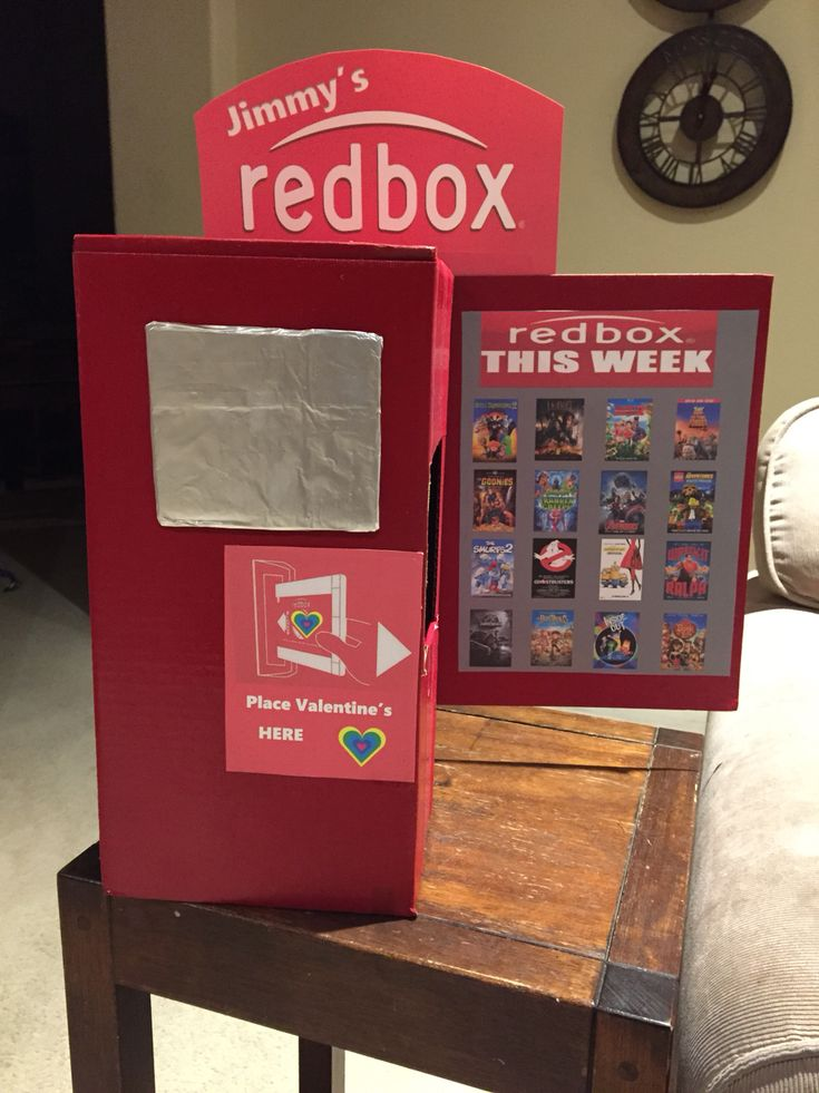 Valentine's Day boxes for school. Redbox idea. Boys and girls can use this idea