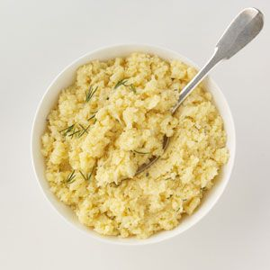 Cheddar Mashed Cauliflower Recipe from Taste of Home -- Shared by Chrystal Baker, Studio City, California