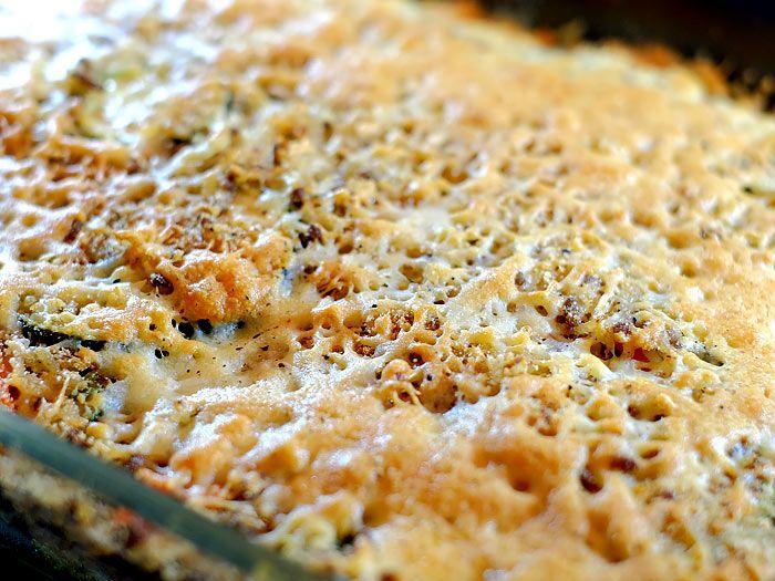 Gegratineerde ovenschotel met courgette, rijst en gehakt