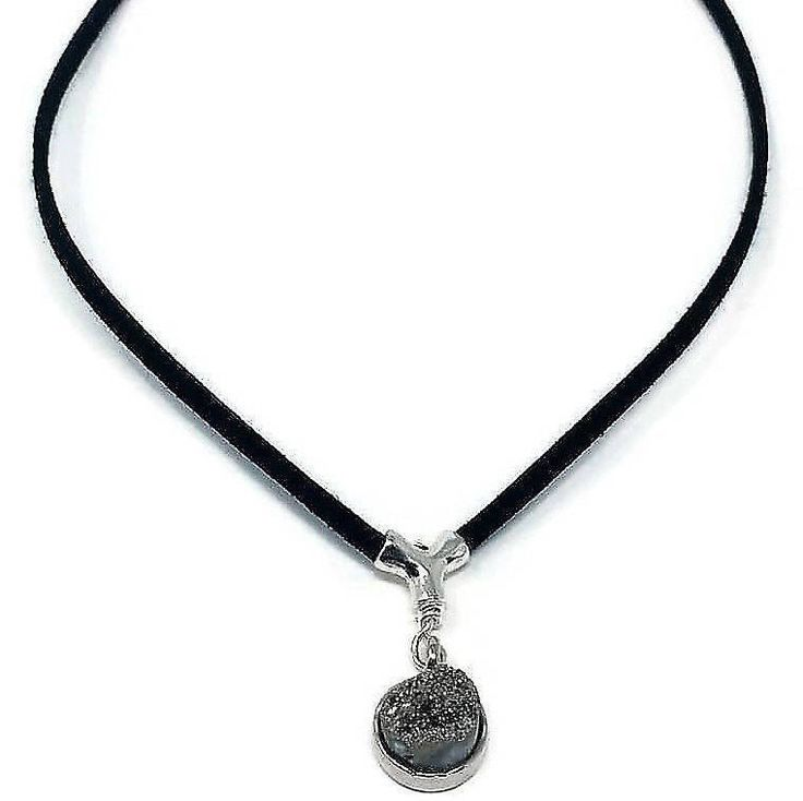 Women vegan Choker with Drusy pendant,vegan choker necklace for women,Choker necklace with Drusy pendant,dainty  necklace,minimalist choker