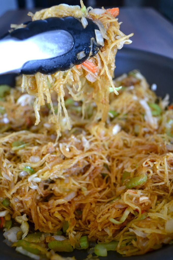 Spaghetti Squash Chow Mein, tastes like Panda Express!! A new staple meal in our house!