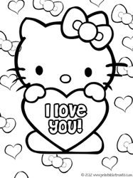 hello kitty valentines coloring pages - Hello Kitty Color Sheet