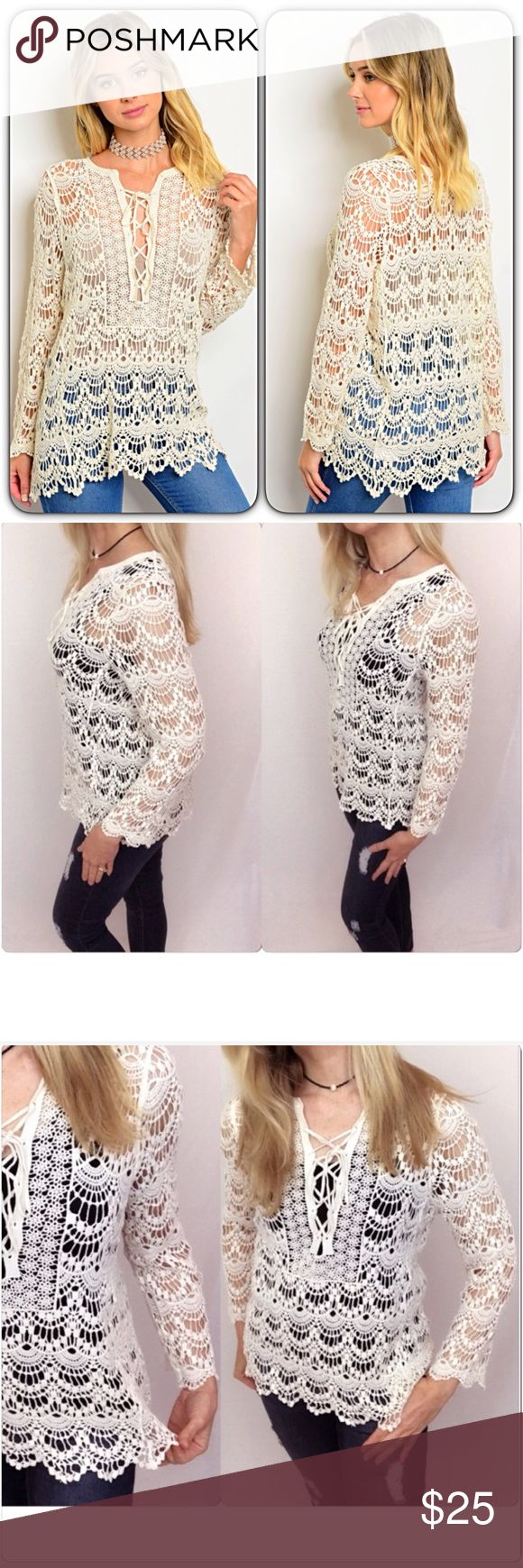 """Crochet Lace Up Tunic Top 2/4 Small Love this stunning crochet lace cover up top. Great layering piece with cami/tank or even wear as swimsuit coverup. Lace up front mini bell sleeves - Cream 100% Cotton Off White Lace Top scalloped ruffle like hem cozy loose knit  Small 2/4 Bust 32-34 Length 27"""" Sweaters"""