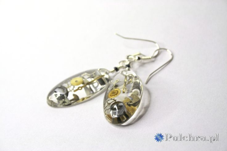 Another perfect resin earrings / Steampunk, kolczyki z żywicy; pulchra.pl
