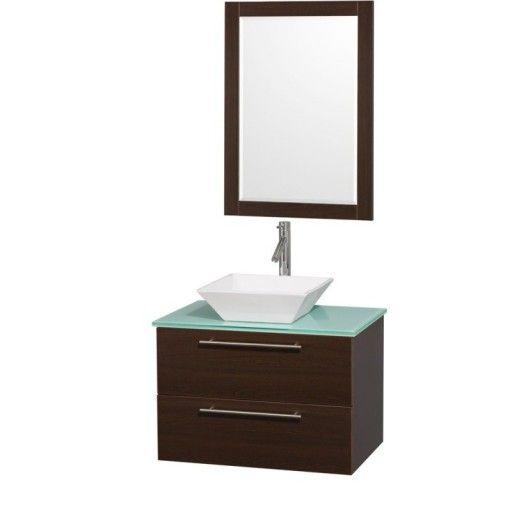 "Wyndham Collection Amare 30"" Wall-Mounted Bathroom Vanity Set with Vessel Sink - Espresso WC-R4100-30-ESP"