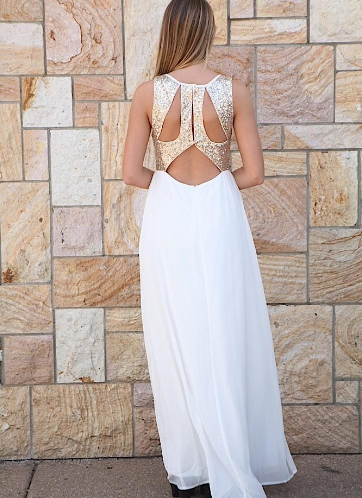 White and Gold Maxi Dresses