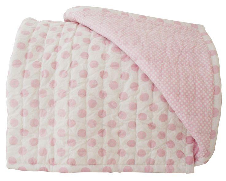 Alimrose Audrey Reversible Cot Quilt 100cm x 120cm - Sweet & soft pale pink cot quilt.