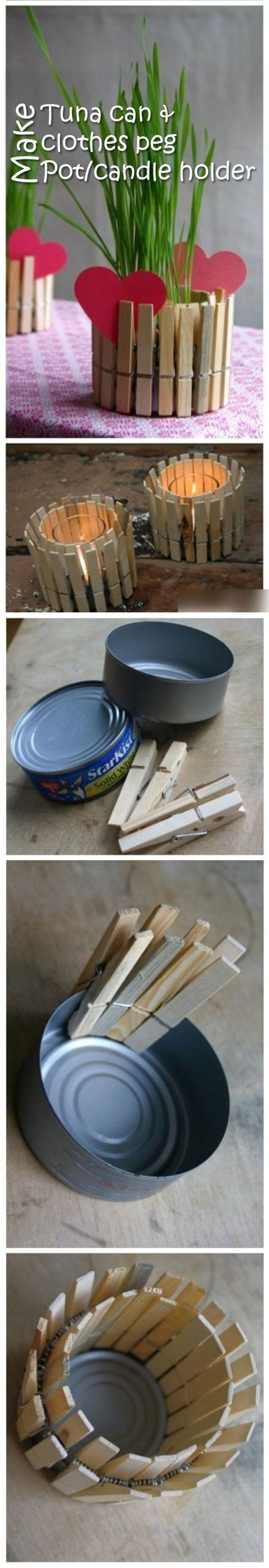 Make your own wooden clothes peg planter