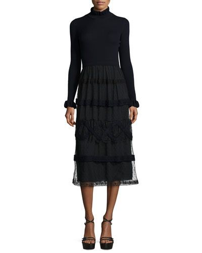 Red+Valentino+Long+Sleeve+Knit+Midi+Dress+W+Point+Desprit+Skirt+Blue+Black+|+Clothing