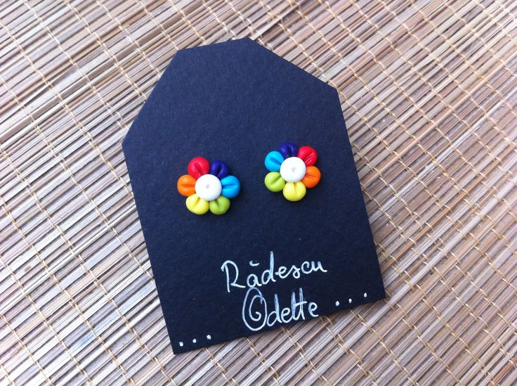 Rainbow Flowers polymer clay stud earrings Handmade polymer clay flower stud earrings for kids, teens, and adults The earrings are fully made by me with love and care. The diameter of the earrings is: 12 mm