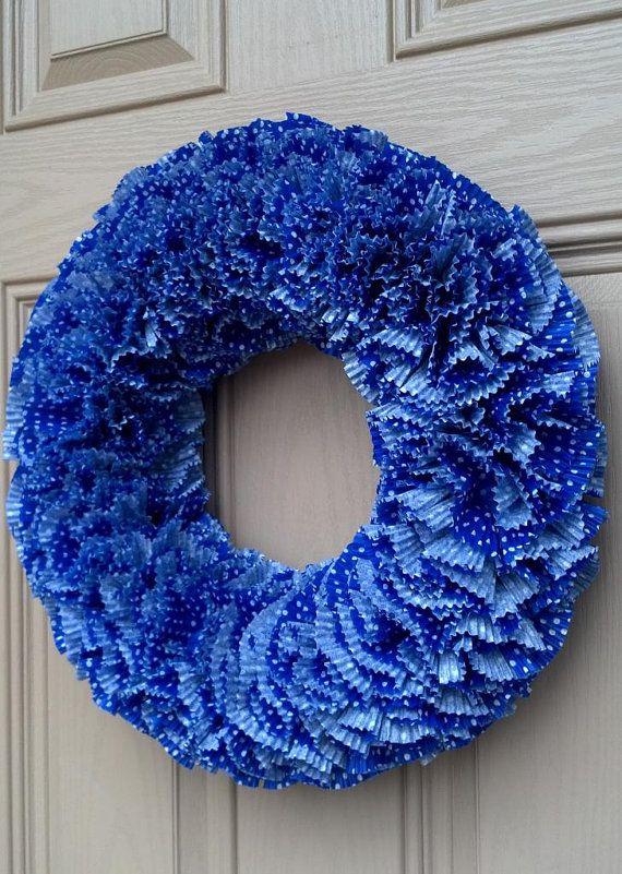 Cupcake Liner Wreath Front Door Wreath Spring Wreath