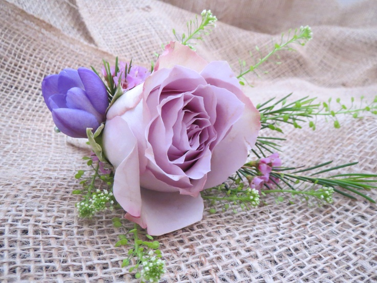 Sweet Avalanche Rose, Wax Flower and Freesia  Button Hole