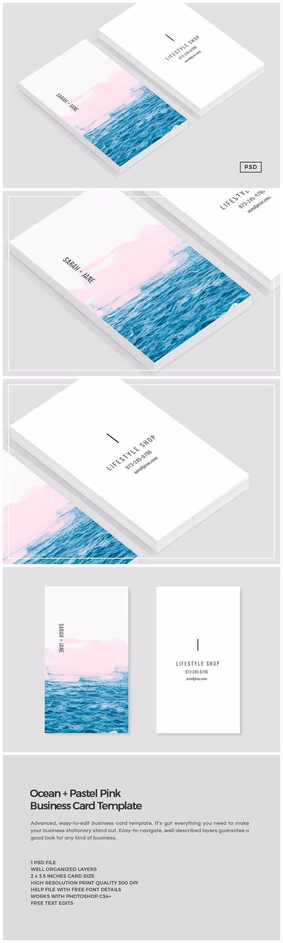 Ocean + Pink Business Card Template by Design Co. on Creative Market (scheduled ...
