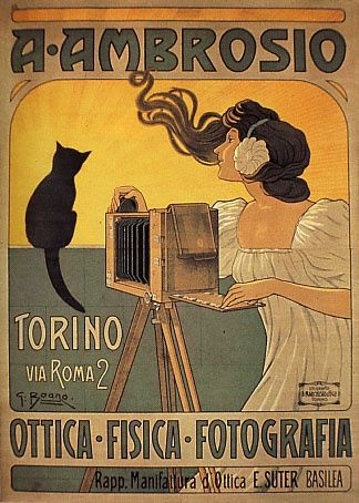 """""""A. Ambrosio Photographer"""" advertising poster by G. Boano (c. 1898)"""