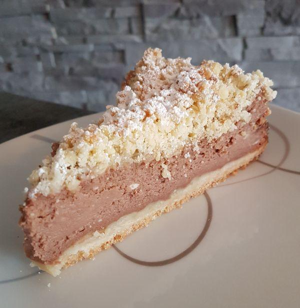 Nougat-Cheesecake mit Streuseln
