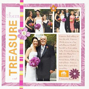 Using floral embellishments on the scrapbook page that are the same color scheme as the wedding bouquet...