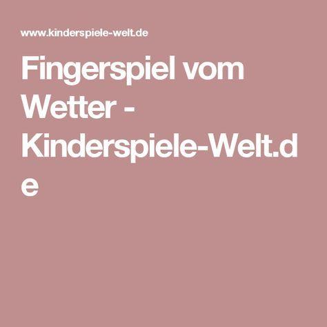 Fingerspiel vom Wetter        - Kinderspiele-Welt.de