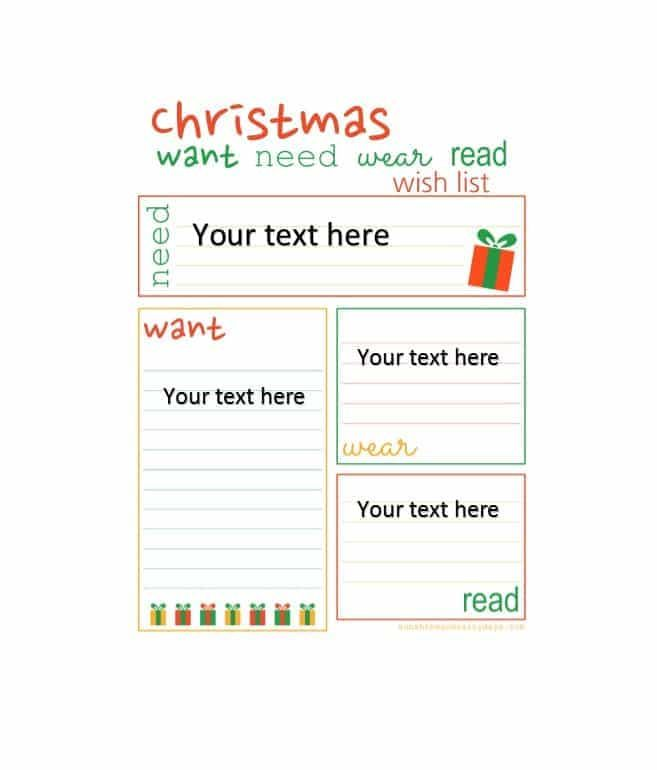 Christmas Wish List Template Pdf Suyhi Margarethaydon Com
