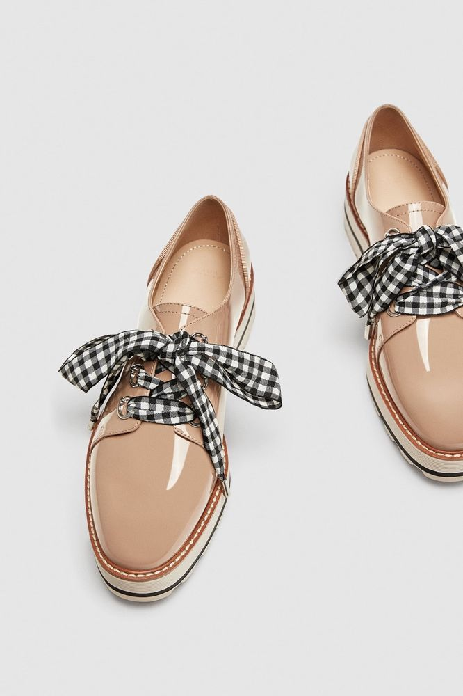 46aeb5c40f0 ZARA FAUX PATENT LEATHER DERBY SHOES WITH GINGHAM BOW DETAIL NUDE LACES  SIZE 11  fashion  clothing  shoes  accessories  womensshoes  flats (ebay  link)