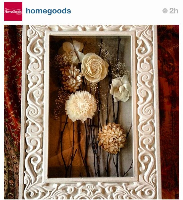 Dried flowers in shadow box. Pretty frame , pretty flowers.