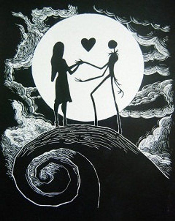 Nightmare Before Christmas Images Black And White.Cross Stitch Pattern For Black And White Sally And Jack