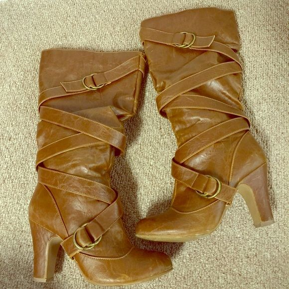 Long Brown Boots Good preowned condition. Tall brown boots with side zippers. Super cute & stylish. Some light scratches on sides and heels, nothing major. Bundle for more discount Dreams Shoes Heeled Boots