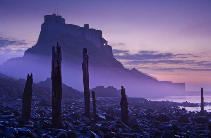 Holy island: Lindisfarne in Northumberland looking particularly eerie surrounded by fog