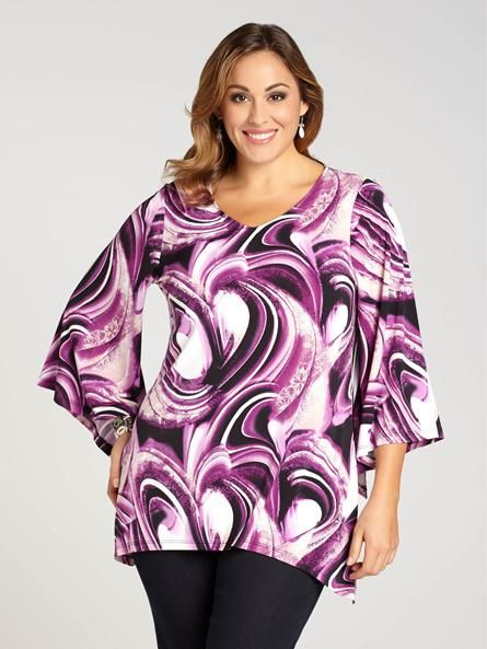 Laura Plus: for women size 14 . This top's no ordnary tunic. With an out-of-this-world abstract print and airy bell sleeves, it's a look that brings together comfort and chic all in one!...5030337-0305