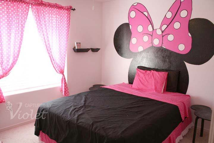 Paint Minnie Mouse instead of having a head board! Love it!