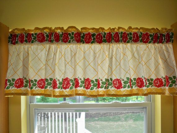 Kitschy Kitchen Vintage 50s Window Valance Red Roses By Danlyn3085, $29.99