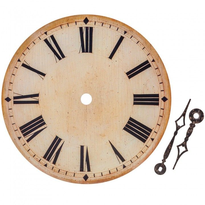 Antique Ivory Clock Face With Hands Roman Numerals 6