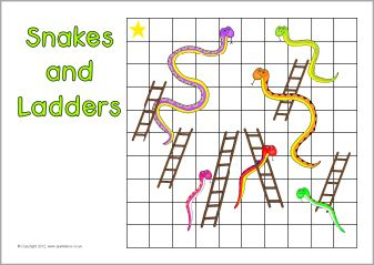 Here's a set of editable Snakes and Ladders boards for creating your own games.