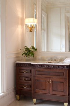 Notice brass painted legs of vanity - Residential Design Project Inspiration by Genevieve of Turned to Design