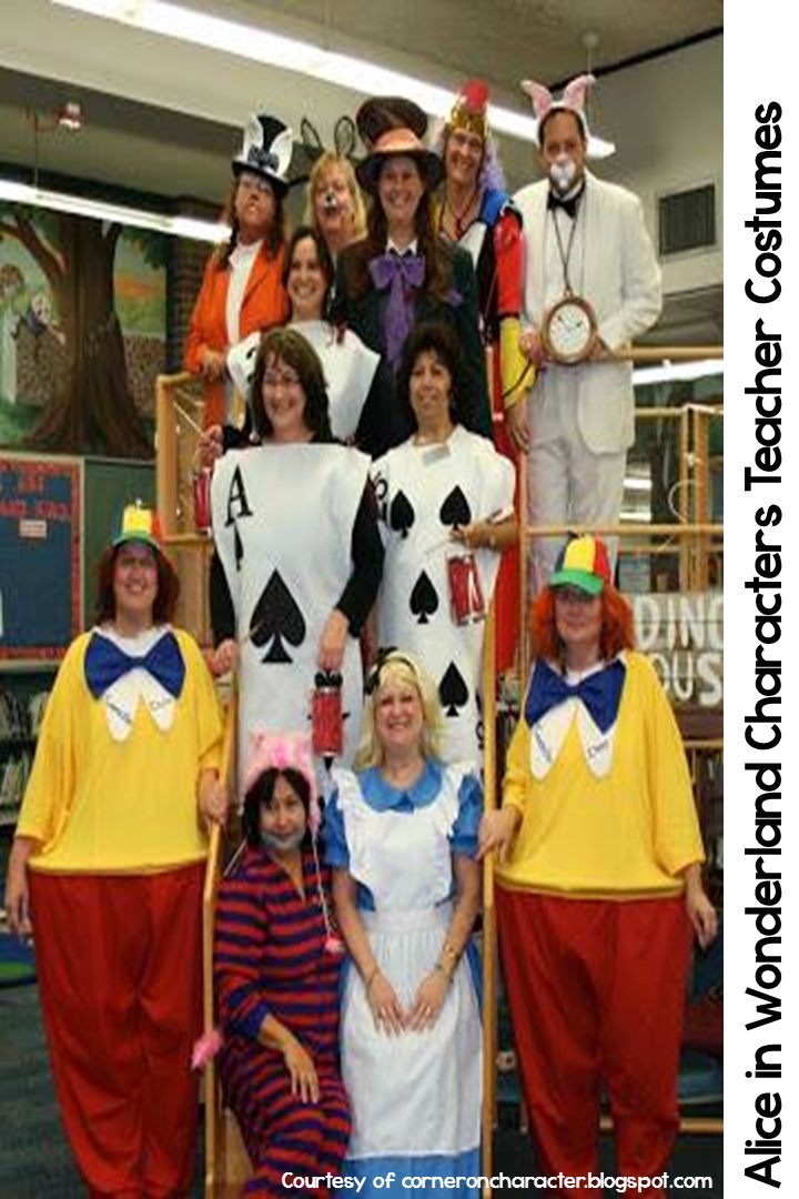 Alice in Wonderland Halloween costumes for teachers. Easy to make and easy to put on for the after lunch parade. More at teachinginroom6.blogspot.com