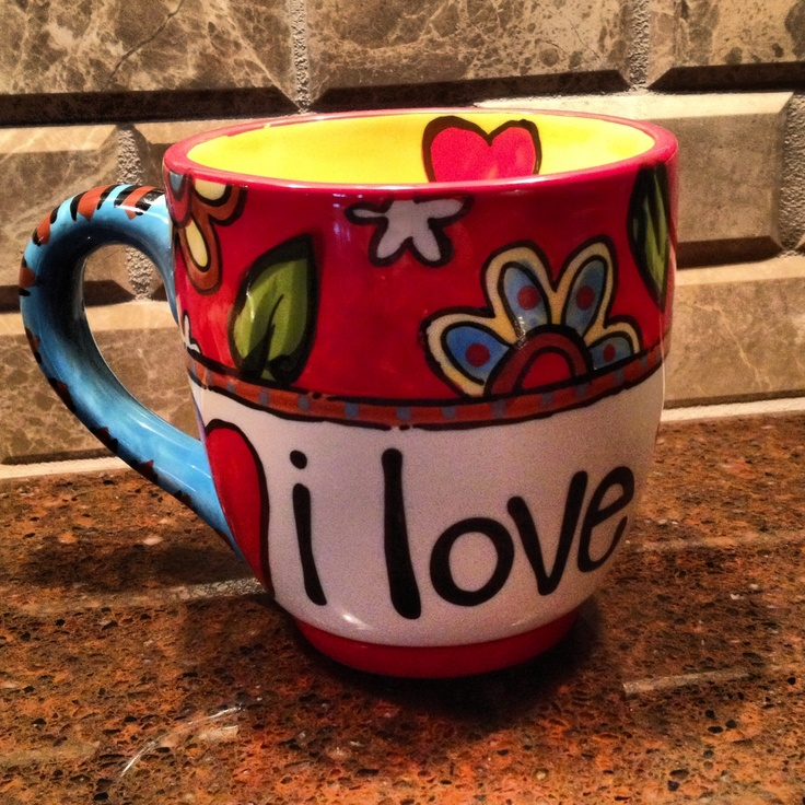 "Handpainted ""I Love You More"" Jumbo Coffee Mug~ 16oz~ Glory Haus Valentines Day!"