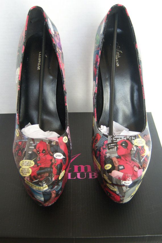 Custom Deadpool Comic Heels Deadpool Shoes Deadpool by MadEnvy
