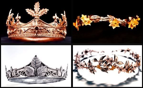 The crowns of High King Peter, Queen Susan, King Edmund and Queen Lucy.  Depending on how out of the traditional wedding look you want to go. I think they would be lovely in a Narnia themed  wedding or even a royal princess themed wedding.