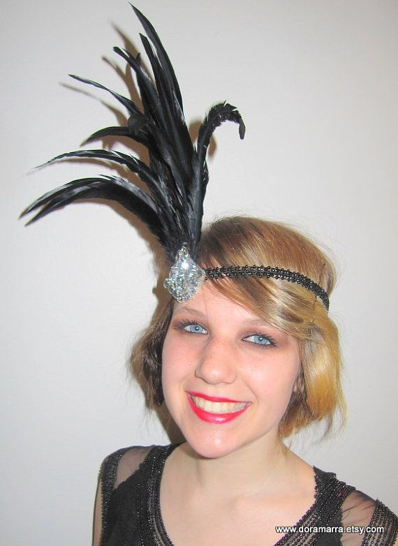 1920s Head Wrap- Gatsby- Feather Headdress- 1920s