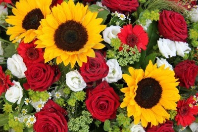 Red Roses Yellow Sunflowers
