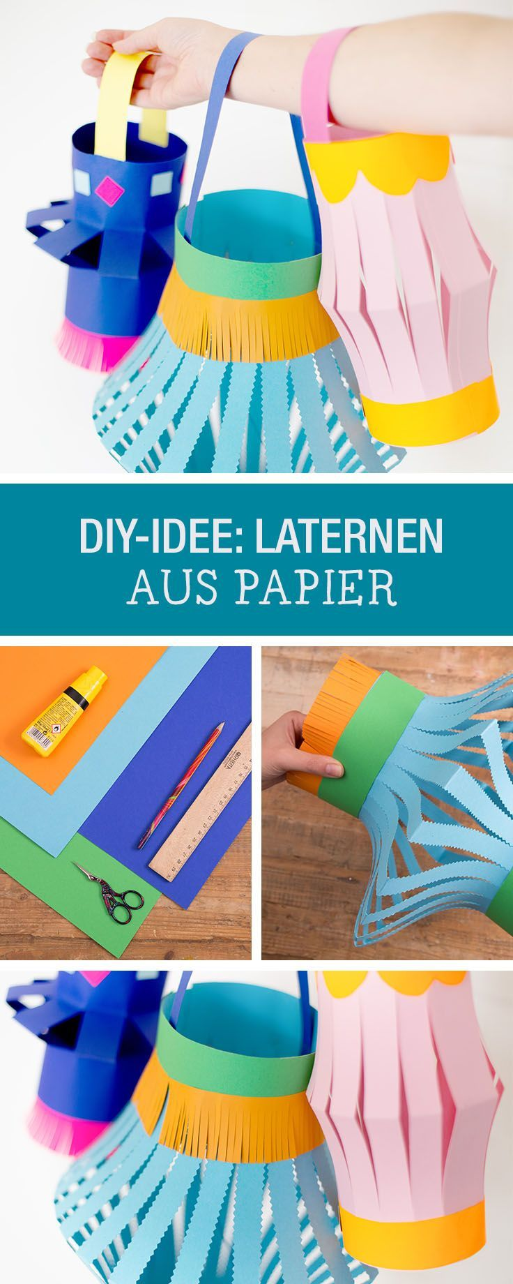 DIY-Anleitung: Laternen aus Papier herstellen, Accessoires für Kinder auf Laternenumzug / DIY tutorial: crafting paper lantern, accessories for children on lantern parade via DaWanda.com