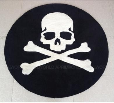 Personalized modern black and white skull carpet mmj round blanket computer chair blanket living room coffee table