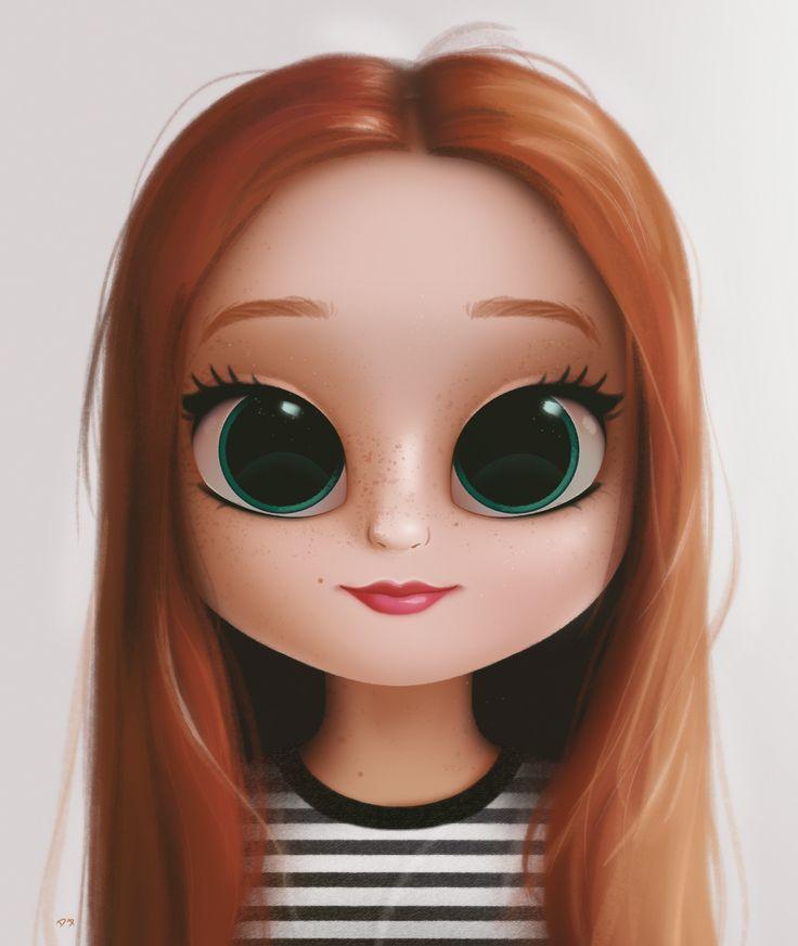 Картинки девочки с большими глазами мультик
