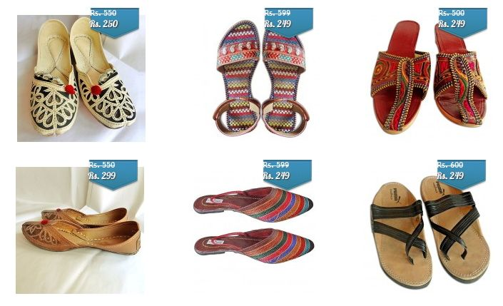 Upto 65 % off on Men & Ladies Rajasthani Mojri & Chappal  Elegant and Traditional footwear made by very skilled craftsmen of Rajasthan. Thread work in multicolour, small heals