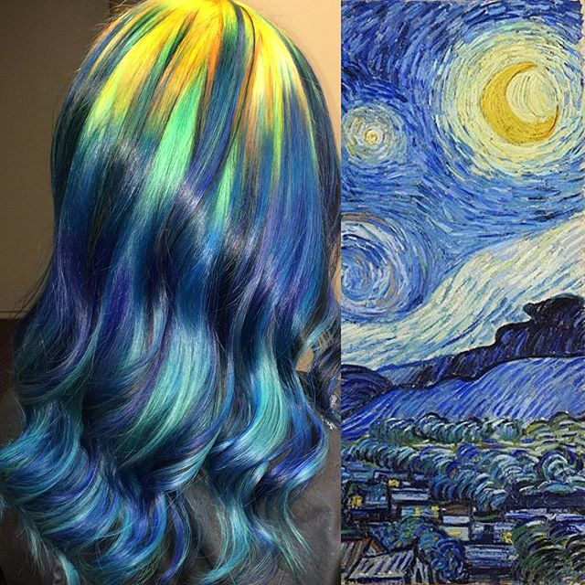 "Pin for Later: Colorist Transforms Classic Artwork Into Rainbow Hair Vincent van Gogh's ""Starry Night"""
