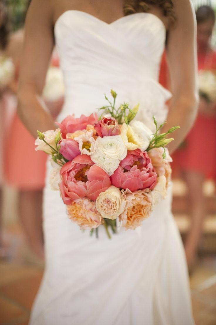 santa barbara wedding coral blush peach peonies ombre bridal bouquet