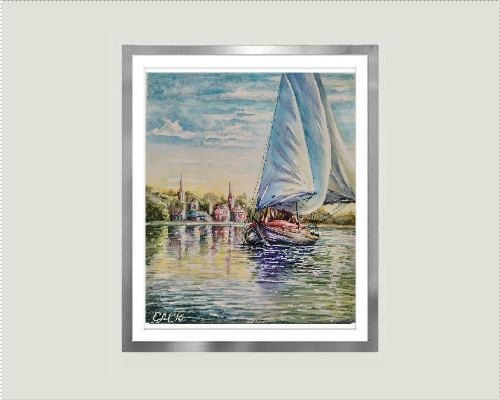 Sailing art Sailboat painting watercolor by svetlanamatevosjan
