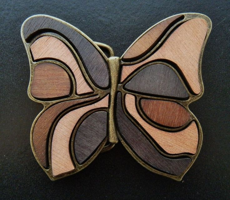 Antique Brass Brown Wood Fill-In Butterfly Plaque Cool Belt Buckle
