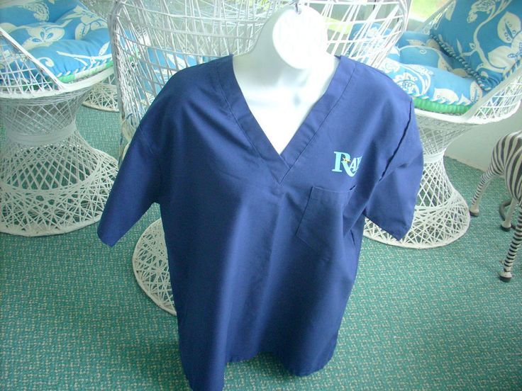 Spectrum Scrub Top Tampa Bay Rays Blue Hospital Uniform Medium Pre-Owned #Spectrum