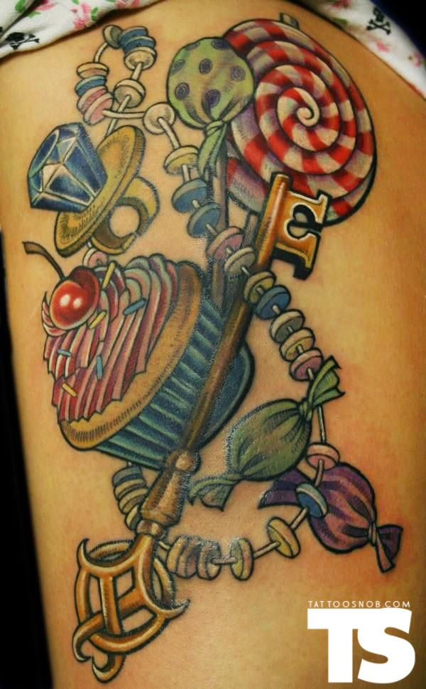 Color Candy tattoo :) Cupcake, Ring Pop, Candy Necklace.