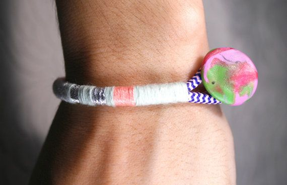 Statement Bracelet stacking bangle  Cotton by SanguineJewelry